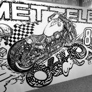 """METZELER 888"" / Messe Motorräder Dortmund 2017 / Technique: Marker / Size: 10 m²"