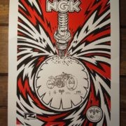 """NGK"" Spark Plug Poster / Limited edition of 100 / Technique: Linoleum print & china ink"